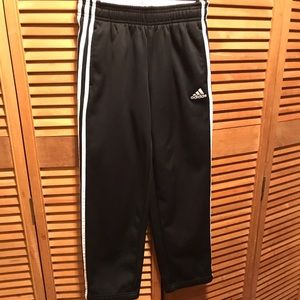 Adidas Black Warmup Pants with White Stripes